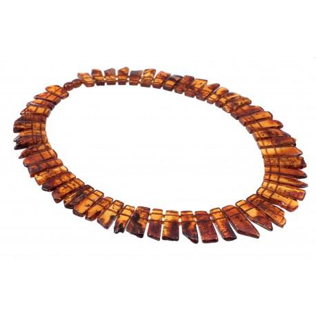 Transparent cognac-color amber necklace