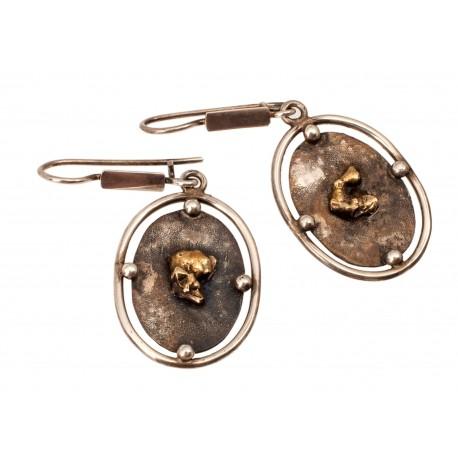 Oval brass earrings