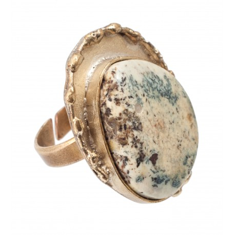 "Brass ring with white amber ""Alchemy"""