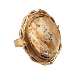 """Brass ring with white amber """"Alchemy"""""""