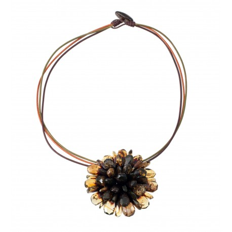 "Amber necklace-brooch ""Flower"""