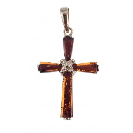 Golden pendant-cross with amber