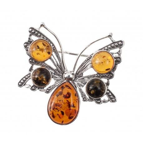 "Silver-amber brooch ""Butterfly"""