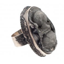 Authentic silver ring with amethyst agate