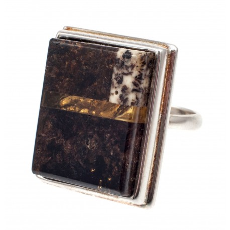 Silver ring with black amber