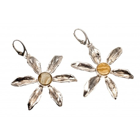 "Silver and white yellow amber earings ""Flower"""