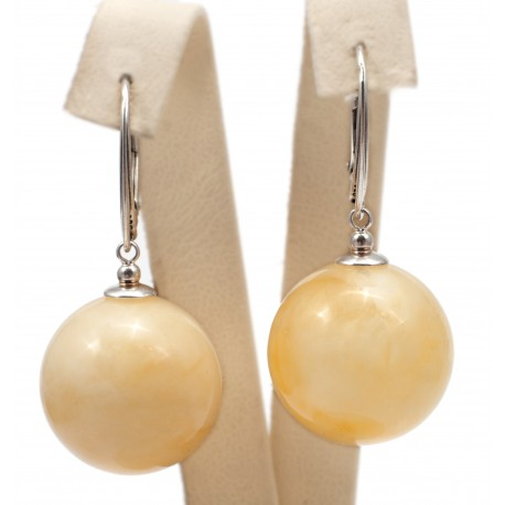 Yellow amber and silver earings