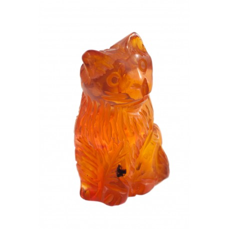 "Clear amber figurine ""Roosting Cat"""