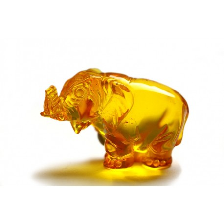 "Amber figurine ""Elephant with a Raised Trunk"""