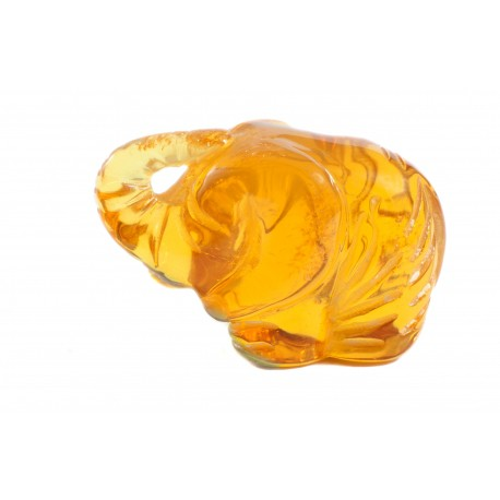 "Yellow amber figurine ""Funny Elephant"""