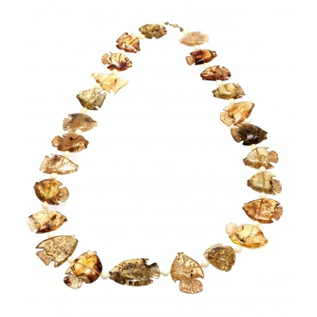 """Amber necklace """"Small Fishes"""""""