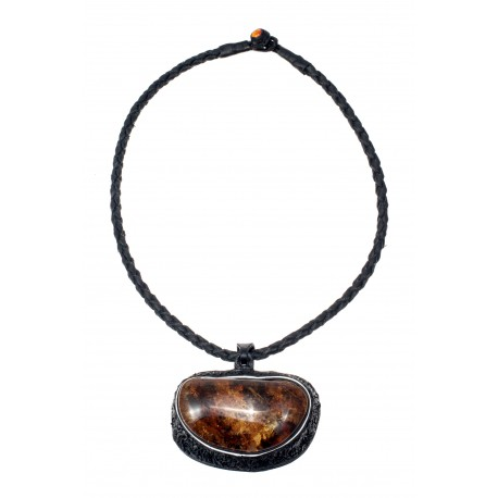Black leather necklace with yellow-brown amber