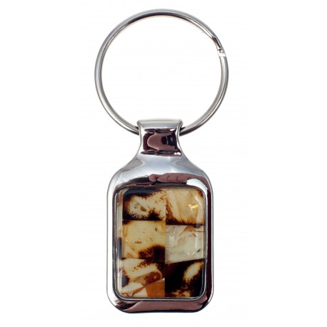 "Metal keyring with amber ""Puzzle"""
