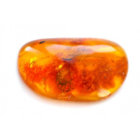 Yellowish-brownish amber piece with inclusions