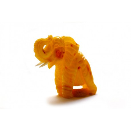 "Yellow amber figurine ""Travelling Elephant"""