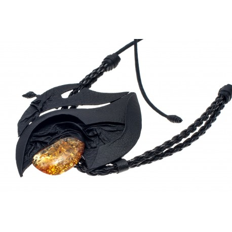 Black leather necklace with yellowish amber