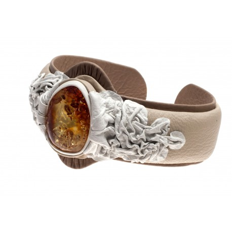 """White coffee color leather bracelet with yellow amber """"Sun Flash"""""""