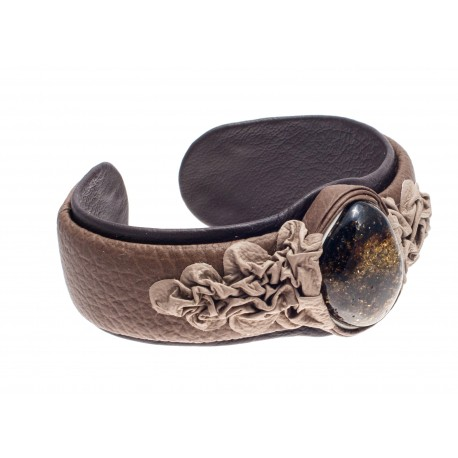 """Dark and light brown color leather bracelet with green amber """"Moss bed"""""""
