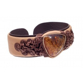 "Creamy and brown color leather bracelet with amber ""Liquid Honey Drop"""