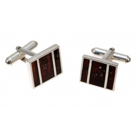 Silver cufflinks with cognac amber