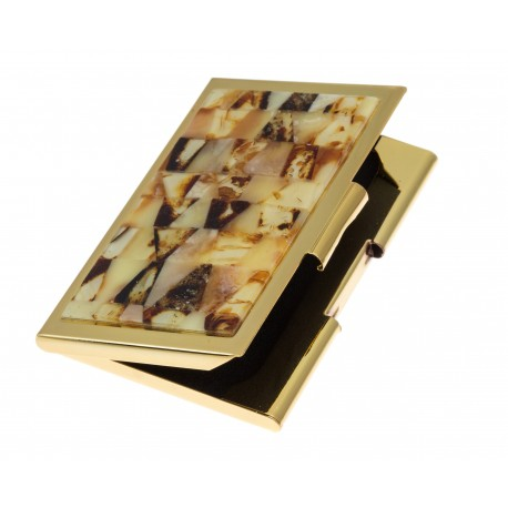 Business card holder with amber