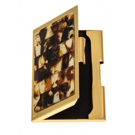 Business card holder decorated with amber