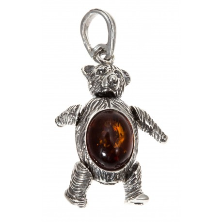 "Silver and amber pendant ""Teddy Bear"""