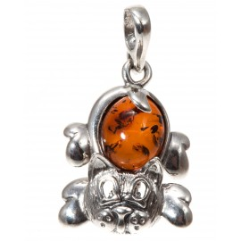 "Silver and amber pendant ""Cat"""