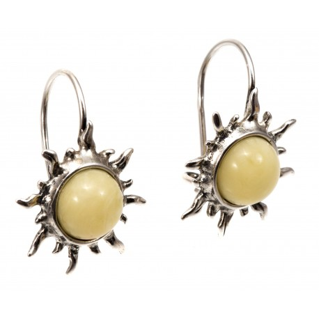 Silver earrings with white amber