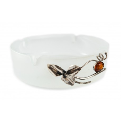 Glass ashtray decorated with silver-amber flower