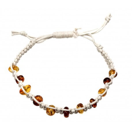 Hand-twined bracelet with amber