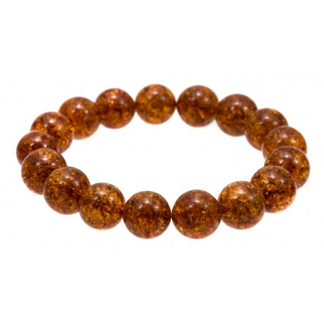 Light cognac amber bracelet with flakes