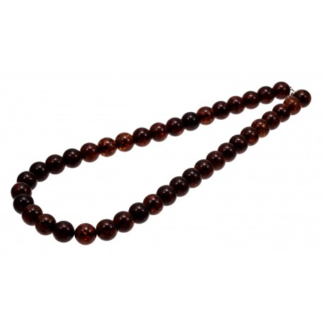 Dark cognac color amber beads necklace