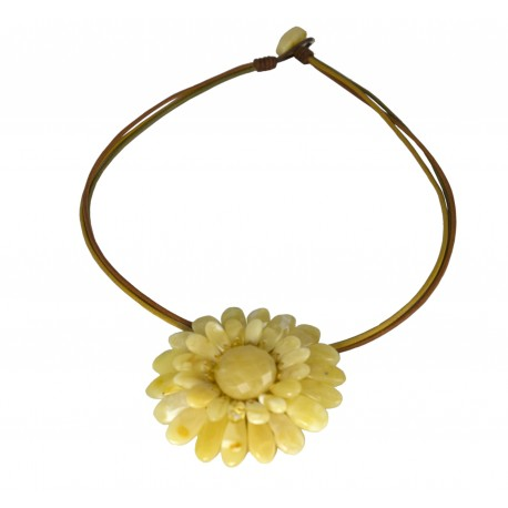 """White amber necklace-brooch """"Flower"""""""