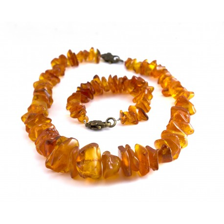 Antique amber necklace and bracelet set